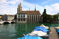 Zurich church the near the river in switzerland Royalty Free Stock Photo