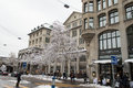 Zurich city center the main of the swisse country taken in a snowy winter cold this is the area near the central station Stock Photography
