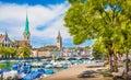 Zurich city center in summer, Switzerland Royalty Free Stock Photo