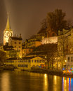 Zurich limmat river november evening switzerland schipfe and st peter church tonemapped hdr image Royalty Free Stock Images
