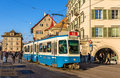 Zurich switzerland december tram be sws bbc in the ci city center on network was opened Royalty Free Stock Photo
