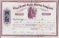 Zwart hawk gold mining company stock certificaat het grondgebied van colorado Stock Foto's