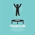 Zwart symbool van person jumping on trampoline Royalty-vrije Stock Afbeeldingen