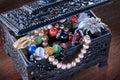 Zwarte juwelendoos Royalty-vrije Stock Afbeeldingen