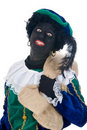 Zwarte Piet with bag Stock Photos