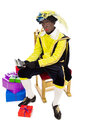 Zwarte piet sinterklaas black pete clipping path included with calculator typical dutch character part of a traditional event Stock Image