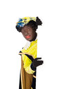 Zwarte piet sinterklaas black pete clipping path included typical dutch character part of a traditional event celebrating the Royalty Free Stock Photo