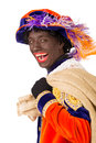 Zwarte piet sinterklaas black pete clipping path included typical dutch character part of a traditional event celebrating the Royalty Free Stock Photos