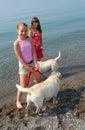 Zwei Mädchen, die mit Hunden spielen Stockfotografie