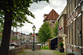 Zwolle netherlands view on an ancient tower and canal in the Royalty Free Stock Photos
