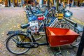 stock image of  Lots of different types of Bikes parked in downtown Zwolle