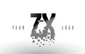 ZX Z X Pixel Letter Logo with Digital Shattered Black Squares