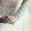 Wedding dress. Diamond Ring with embroidered lace wedding dress nicely Stock Photo