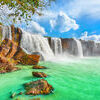 Dry Nur waterfall. Beautiful Dry Nur waterfall in Vietnam Stock Photo