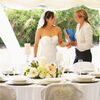 Bride With Wedding Planner In Marquee. Smiling Stock Photo