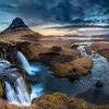 Iceland landscape - Sunrise at Mt. Kirkjufell.  Stock Photo