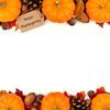 Happy Thanksgiving tag with autumn double border over white. Happy Thanksgiving tag with autumn double border of pumpkins, leaves and nuts isolated on white Stock Photo