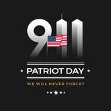Patriot Day 9/11 Memorial illustration with USA flag, 911 Patrio