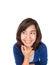 Stock Image :  Ασιατική γυναίκα που σκέφτεται να φανεί σκεπτικός και ευτυχής