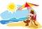Stock Image :  Θερινές διακοπές θαλασσίως, απεικόνιση κινούμενων σχεδίων