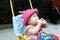 Stock Image :  κόκκινο καπέλων μωρών