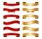 Stock Image : Κόκκινο & χρυσό κορδελλών σύνολο συλλογής εμβλημάτων βασικό