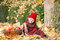 Stock Image :  Μικρό κορίτσι στο πάρκο φθινοπώρου με το καλάθι μήλων