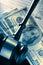 Stock Image :  Ξύλινο gavel, φορολογική μορφή και δολάρια