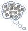 Stock Image :  Ομιλία ή σκέψη