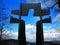 Stock Image : Σκιαγραφία του Ιησού στο σταυρό προς τον ουρανό