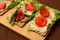 Stock Image :  Υγιές ψωμί με τα λαχανικά