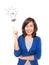 Stock Image :  Χαμόγελο γυναικών που δείχνει επάνω την παρουσίαση doodle ιδέας λαμπών φωτός