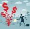Stock Image :  Абстрактная коммерсантка растет дерево доллара
