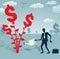 Stock Image :  Абстрактный бизнесмен растет дерево доллара