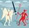 Stock Image :  Бои абстрактных бизнесменов хорошие против зла