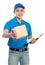 Stock Image : голубая форма работника доставляющего покупки на дом