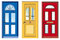 Stock Image : желтый цвет голубых дверей красный