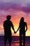 Stock Image : заход солнца любовников