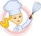 Stock Image : Логос хлебопекарни с конструкцией характера шеф-повара девушки
