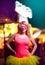 Stock Image :  Красивая девушка на музыкальном фестивале, молодежной культуре