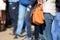 Stock Image :  Крупный план ног и сумки