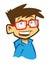Stock Image :  Мальчик шаржа усмехаясь с зрелищами