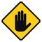 Stock Image :  Рука значка белая на желтой предпосылке