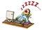Stock Image : Шарж уснувшего упаденное человеком перед компьютером