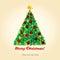Stock Image :  与圣诞树的圣诞节明信片