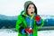 Stock Image : 使用在雪的年轻男孩
