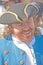 Stock Image : 有三角的帽子的笑的海盗