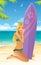 Stock Image :  海滩的运动的冲浪者女孩