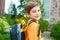 Stock Image : 男孩准备好幼儿园