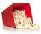 Stock Image :  红色桶用掉下来的玉米花